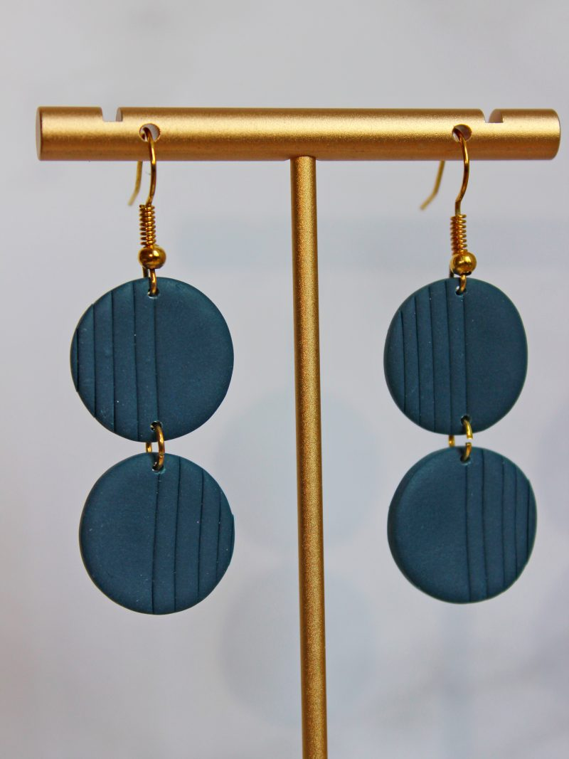 Essential Navy two piece, hook earrings_close up photo