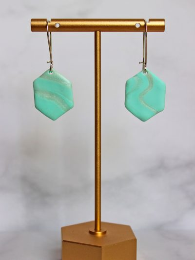Light aqua color and pearl with details earrings