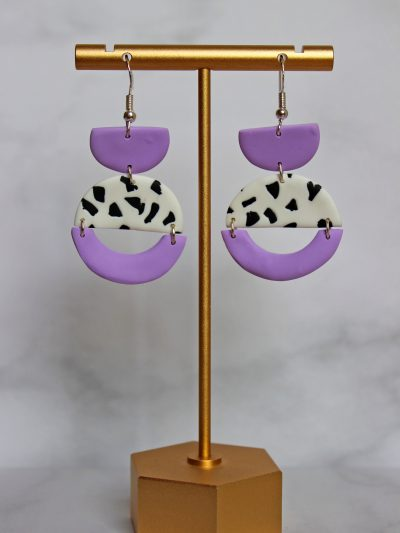 Lilac and white earrings with black dots
