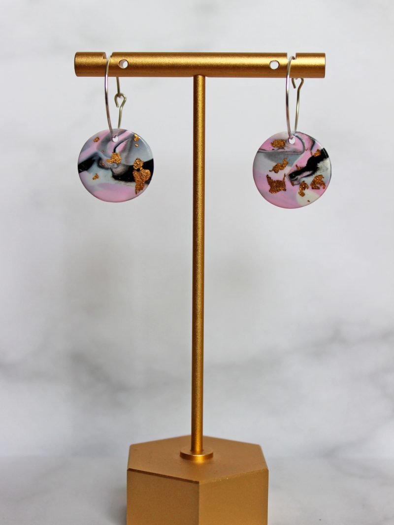 Milky way earrings_black white and pink randoom mix