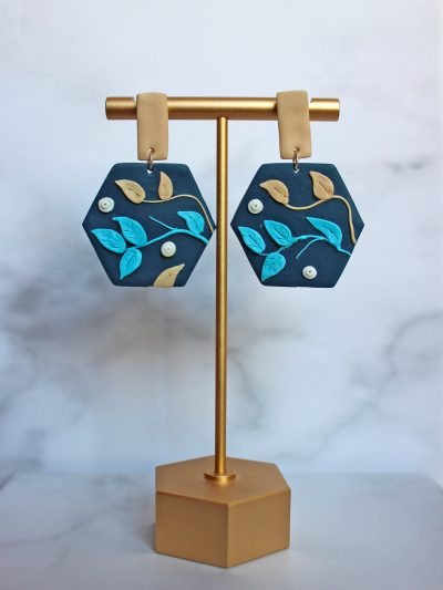 The Ivy Earrings_Blue and beige