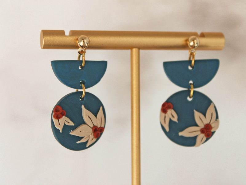 Lily earrings navy color close up photo