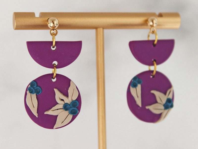 Lily Magenta Earrings two piece close up photo