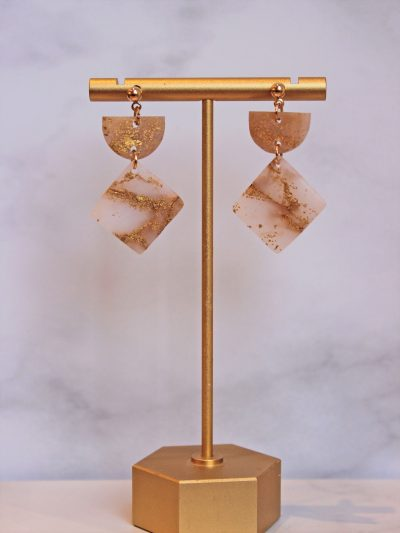 Gold Leaf Earrings in square shape