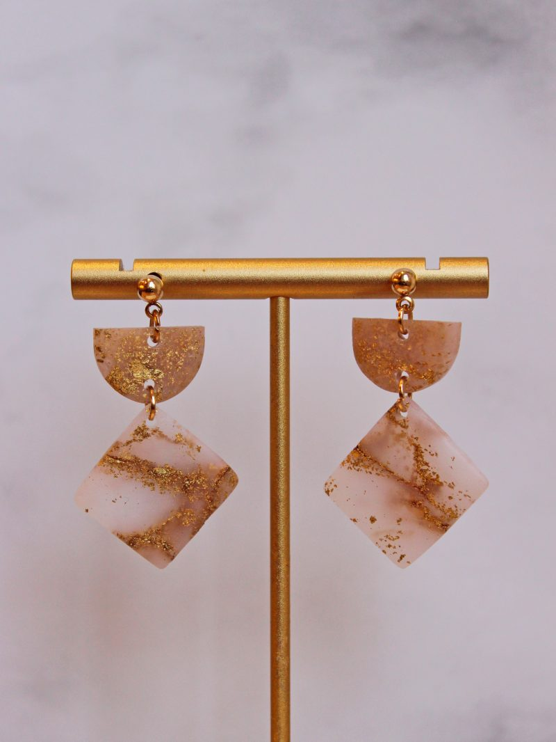 Gold Leaf Earrings in square shape close up