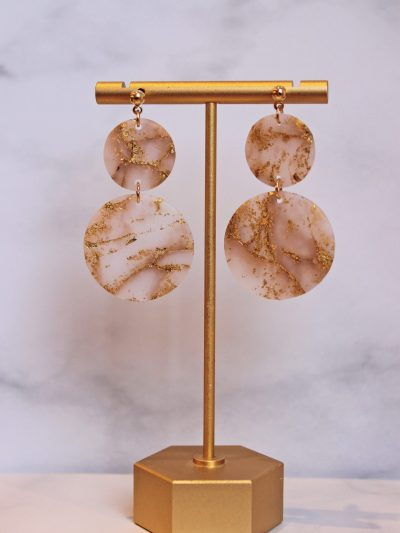 Gold Leaf marble earrings in circle shape